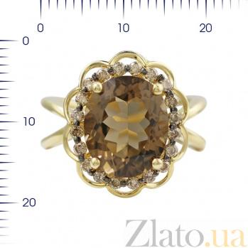 Кольцо из желтого золота Гармония с коньячными бриллиантами и раухтопазом 000080876