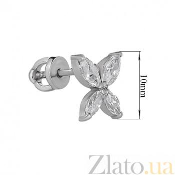 Серьги-пуссеты из серебра с фианитами  Цветок мира HUF--2242-Р