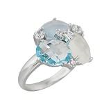 Серебряное кольцо с халцедонами, топазом и фианитами Морская палитра