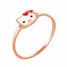 Детское золотое кольцо Hello Kitty с эмалью