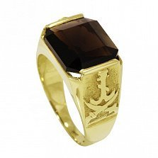 Золотой перстень Стиль в желтом цвете с мечами на шинке и раухтопазом