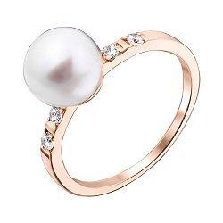 Кольцо в красном золоте Оделия с жемчугом и фианитами