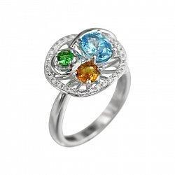 Кольцо из белого золота с бриллиантами, голубым топазом, цаворитом и цитрином