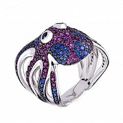 Серебряное кольцо Осьминожек с глазками-фианитами, синтетическими корундами и шпинелью