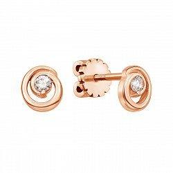 Золотые серьги-пуссеты в красном цвете с бриллиантом 000127070