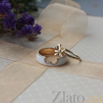 Двойное кольцо в желтом золоте Августина с эмалью и фианитами 000044958