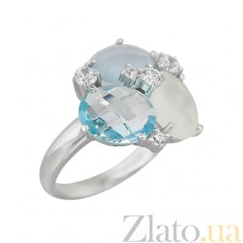 Серебряное кольцо с халцедонами, топазом и фианитами Морская палитра 000032362