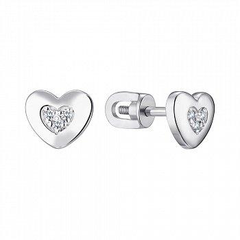 Серебряные серьги-пуссеты с бриллиантами 000123340