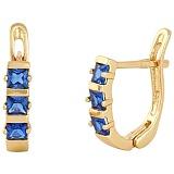 Позолоченные сережки из серебра с синим цирконием Братислава