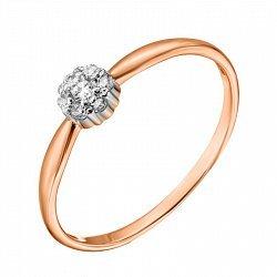 Кольцо из красного золота с фианитами и родированием 000135453