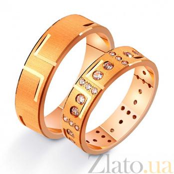 Золотое обручальное кольцо Первый поцелуй с фианитами TRF--412213