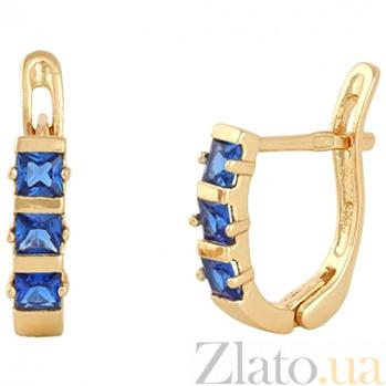 Позолоченные сережки из серебра с синим цирконием Братислава SLX--С3ФС/343
