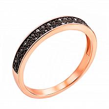Кольцо из красного золота с черными бриллиантами 000124858