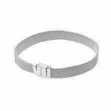 Серебряный плоский браслет Терраса для шармов в стиле Пандора, 7мм