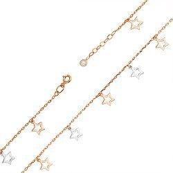 Золотой браслет в комбинированном цвете с подвесками 000119260