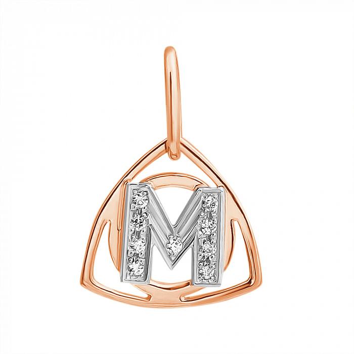Золотой кулон Буква М в комбинированном цвете с фианитами EDM--П0179М