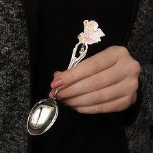 Серебряная чайная ложка Ангел в розовом и колокольчик