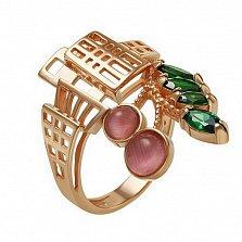 Кольцо в красном золоте Кеба с улекситом и фианитами