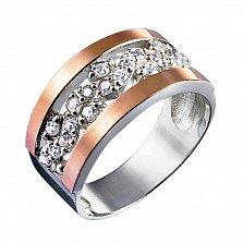 Серебряное кольцо Кларина с золотыми накладками и фианитами