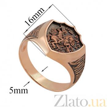 Золотой перстень в форме щита Георгий Победоносец с чернением 000022610