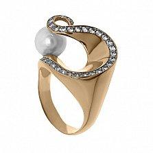 Золотое кольцо с жемчугом Ариадна