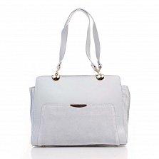 Деловая сумка из кожи и замши Genuine Leather 8939 голубого цвета на молнии, с нашивным карманом