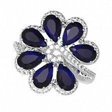 Серебряное кольцо Любава с наносапфирами и фианитами