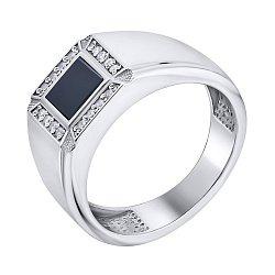 Серебряный перстень-печатка с ониксом и фианитами 000140545