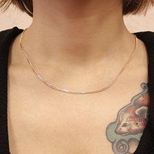 Золотая цепь Анжелика панцирного плетения с алмазными гранями