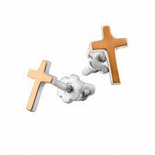 Серебряные пуссеты-крестики Глянец с золотыми накладками