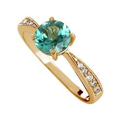 Золотое кольцо Беатриса с синтезированным аметистом и фианитами