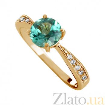 Золотое кольцо Беатриса с синтезированным аметистом и фианитами VLN--112-778-55