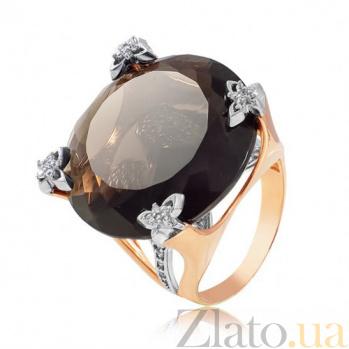 Золотое кольцо с раухтопазом Сицилия EDM--КДц003РАУХТОП