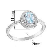 Серебряное кольцо Лия с топазом и фианитами