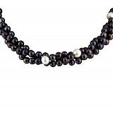 Ожерелье Женевьева из трех нитей с черным и белым жемчугом на серебряной застежке