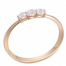 Кольцо Чистый ручей в красном золоте с бриллиантами