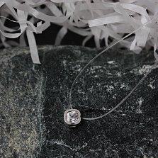 Серебряное колье на силиконовой нити Эльза с белым фианитом в огранке антик