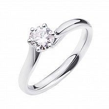 Золотое помолвочное кольцо Фридди в белом цвете с бриллиантом