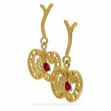 Золотые серьги-подвески Яблоки времени на веточке с синтезированными рубинами