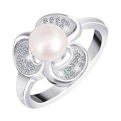 Серебряное кольцо с натуральным жемчугом и фианитами 000025497