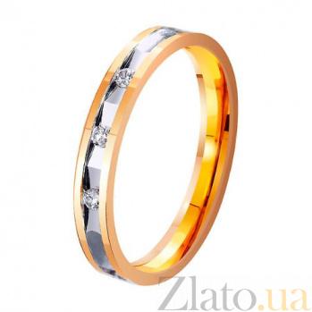 Золотое обручальное кольцо Сияние влюбленных сердец с дорожкой из трех фианитов TRF--4121318