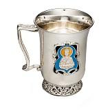 Серебряная чашка Святой защитник с эмалью