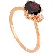 Золотое кольцо Валери с гранатом и цирконием