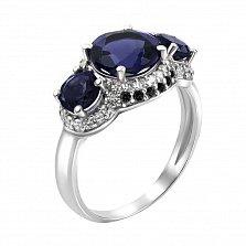 Серебряное кольцо Виконтесса с синтезированными сапфирами, черными и белыми фианитами