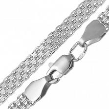 Серебряный браслет Ортад в плетении четырехрядный якорь, 10мм