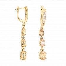 Золотые серьги-подвески Нурин с дорожками фианитов