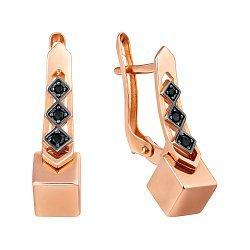 Золотые серьги в геометрическом стиле с черными фианитами 000103493