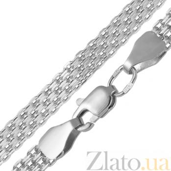 Серебряный браслет Ортад в плетении четырехрядный якорь, 10мм 000079825