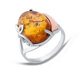 Серебярное кольцо с янтарем и золотой вставкой Бернайс