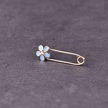 Серебряная булавка Милый цветочек с голубой эмалью и фианитом